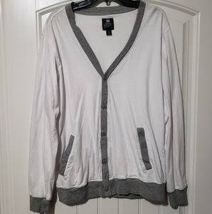 Mens white and gray cardigan Size XL.